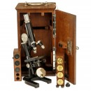 Leitz Microscope with Accessories in Case, 1890