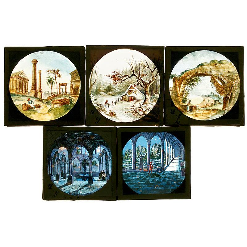 5张手绘玻璃图片